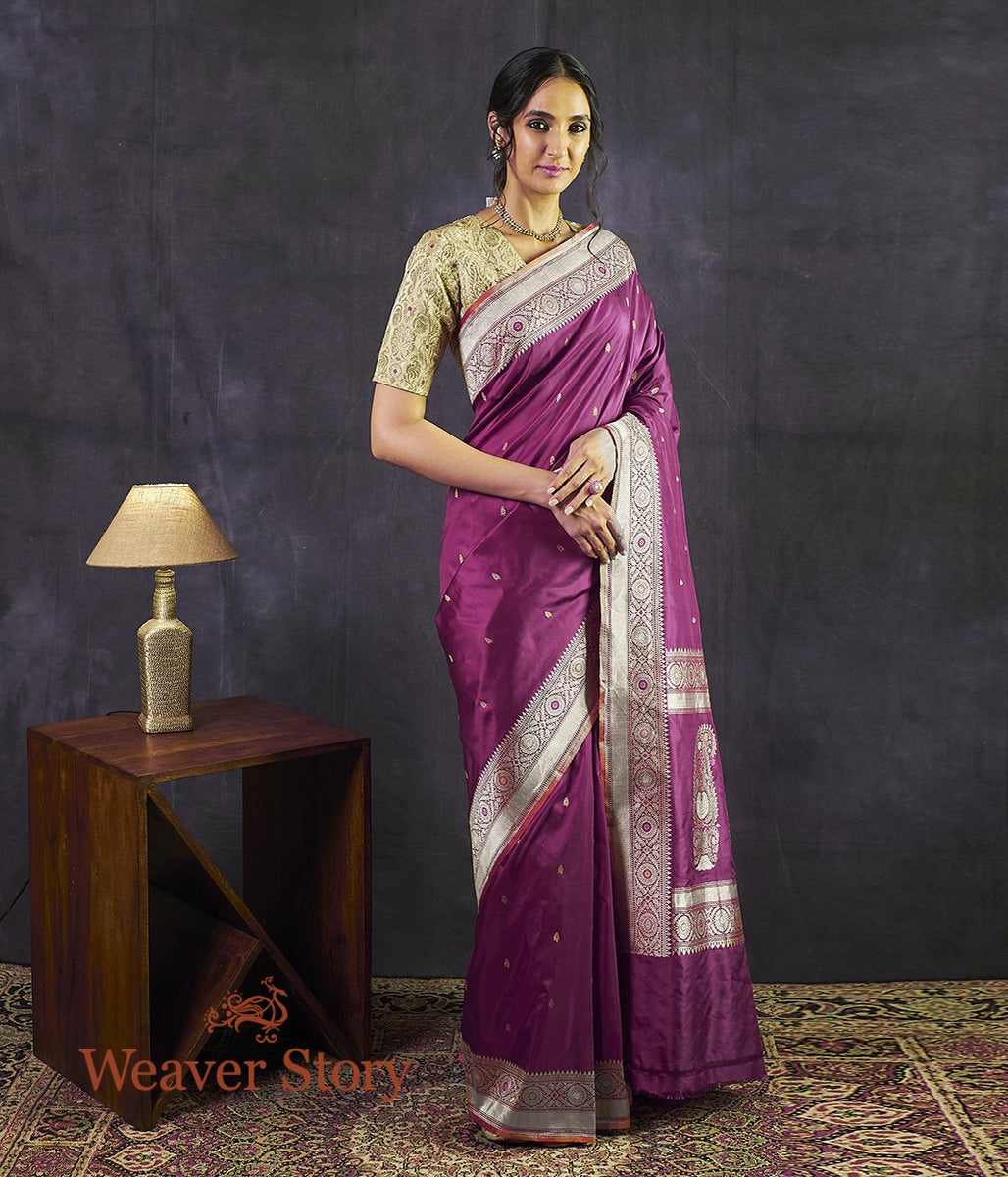 Handwoven Wine Kadhwa Banarasi Saree with Meena Booti