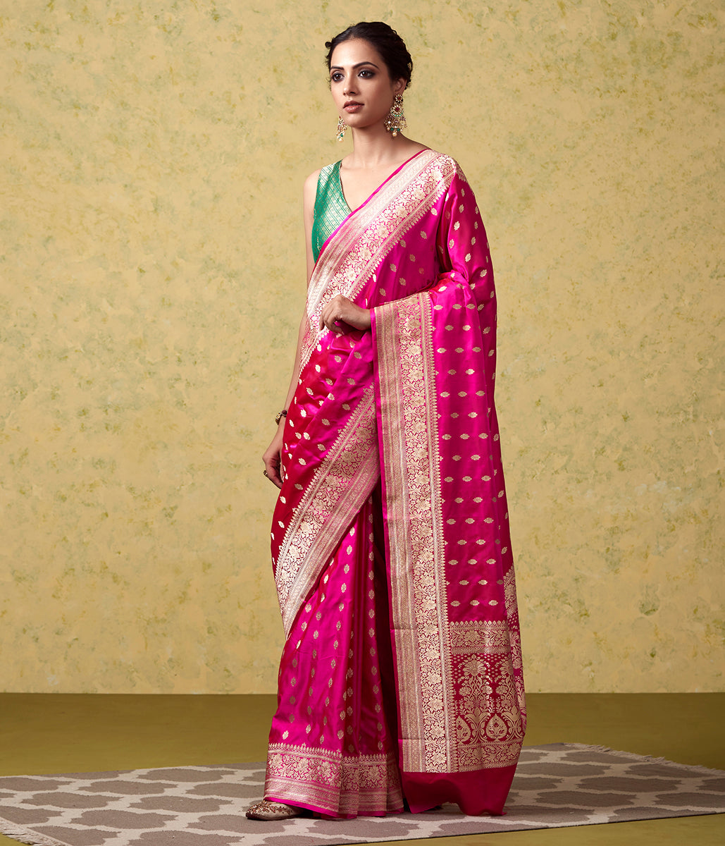 Handwoven Pink Pure Satin Saree with Booti and Floral Border