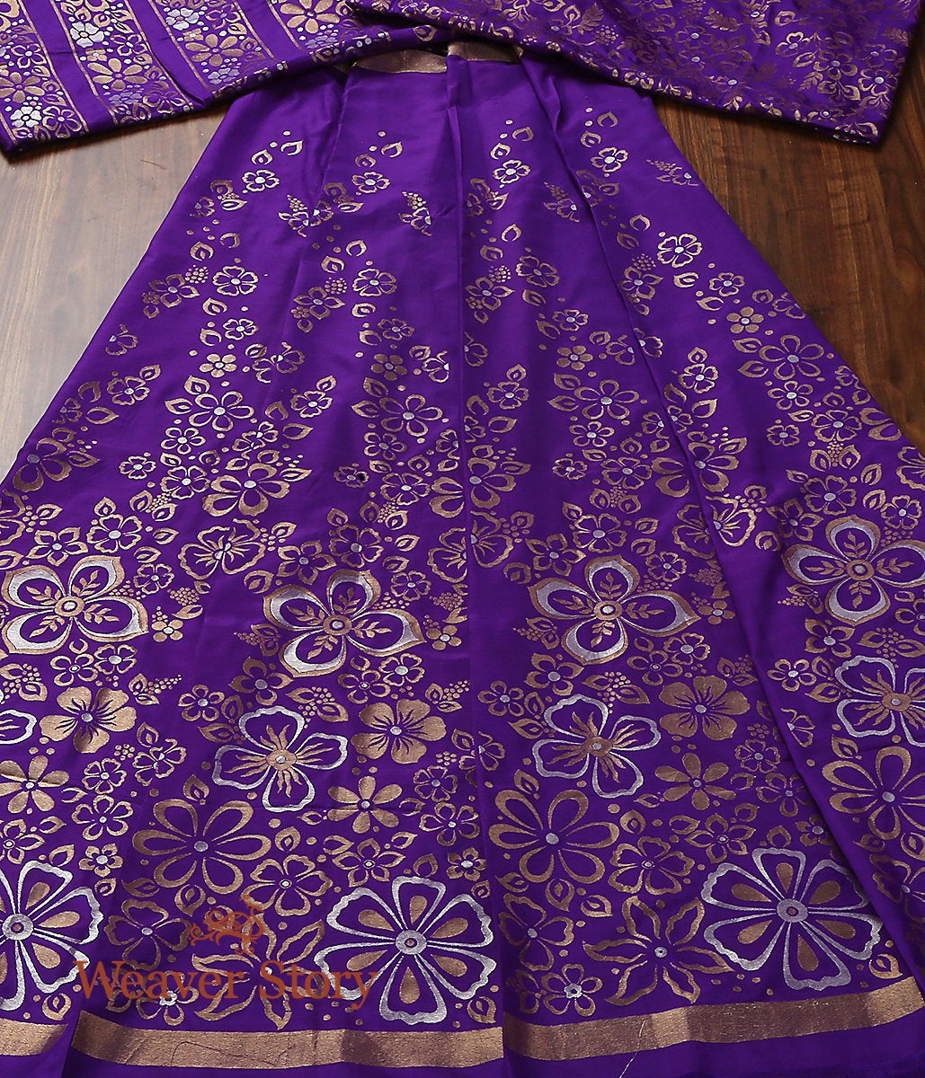 Handwoven Banarasi Silk Purple Lehenga with Sona Rupa Flowers