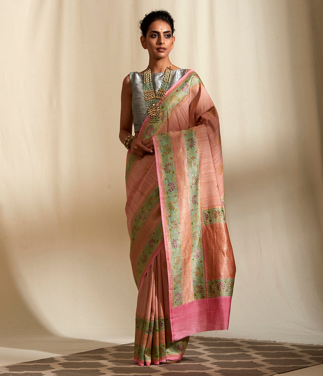 Handwoven light peach tusser georgette saree with light blue hand painted border