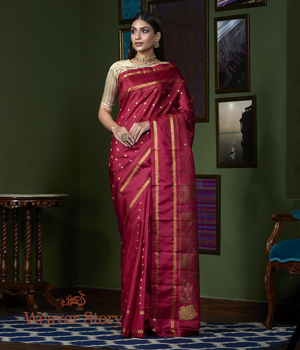 Handwoven Maroon Kanjivaram Saree with Bird Motifs