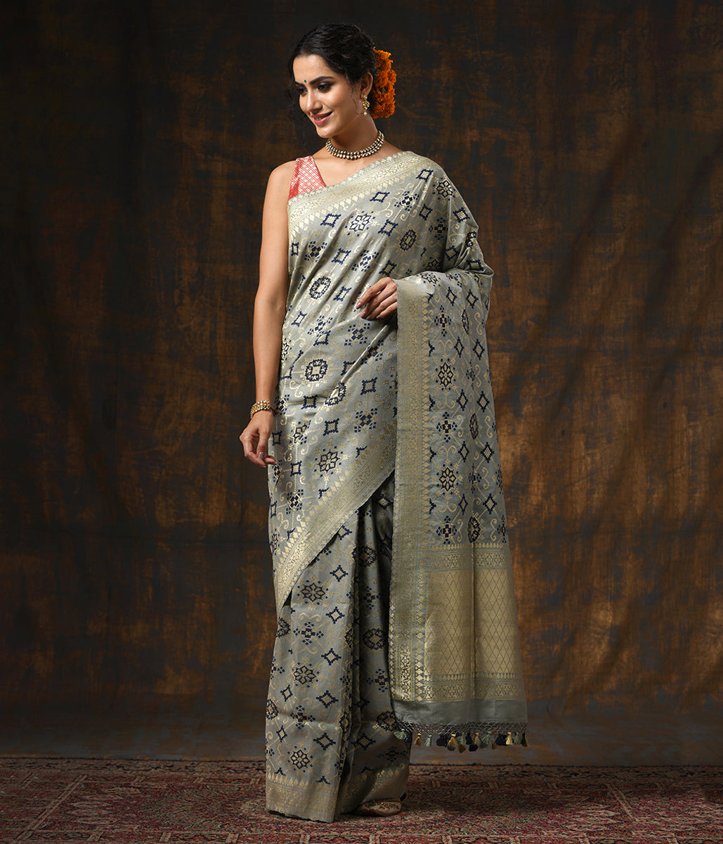 Handwoven Grey Blue Tusser Patola Saree