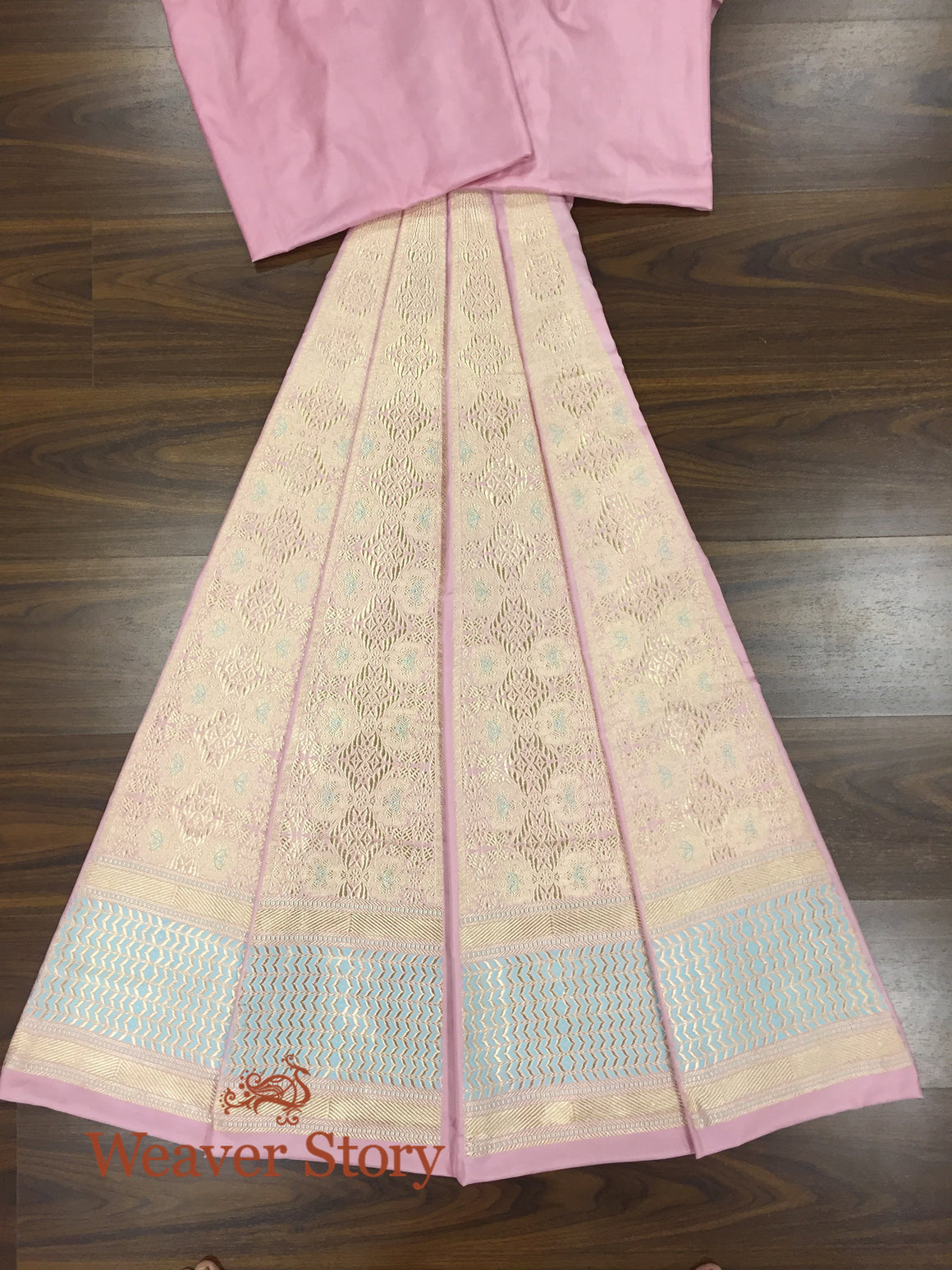 Handwoven Powder Pink Heavy Meenakari Lehenga with Blue Border