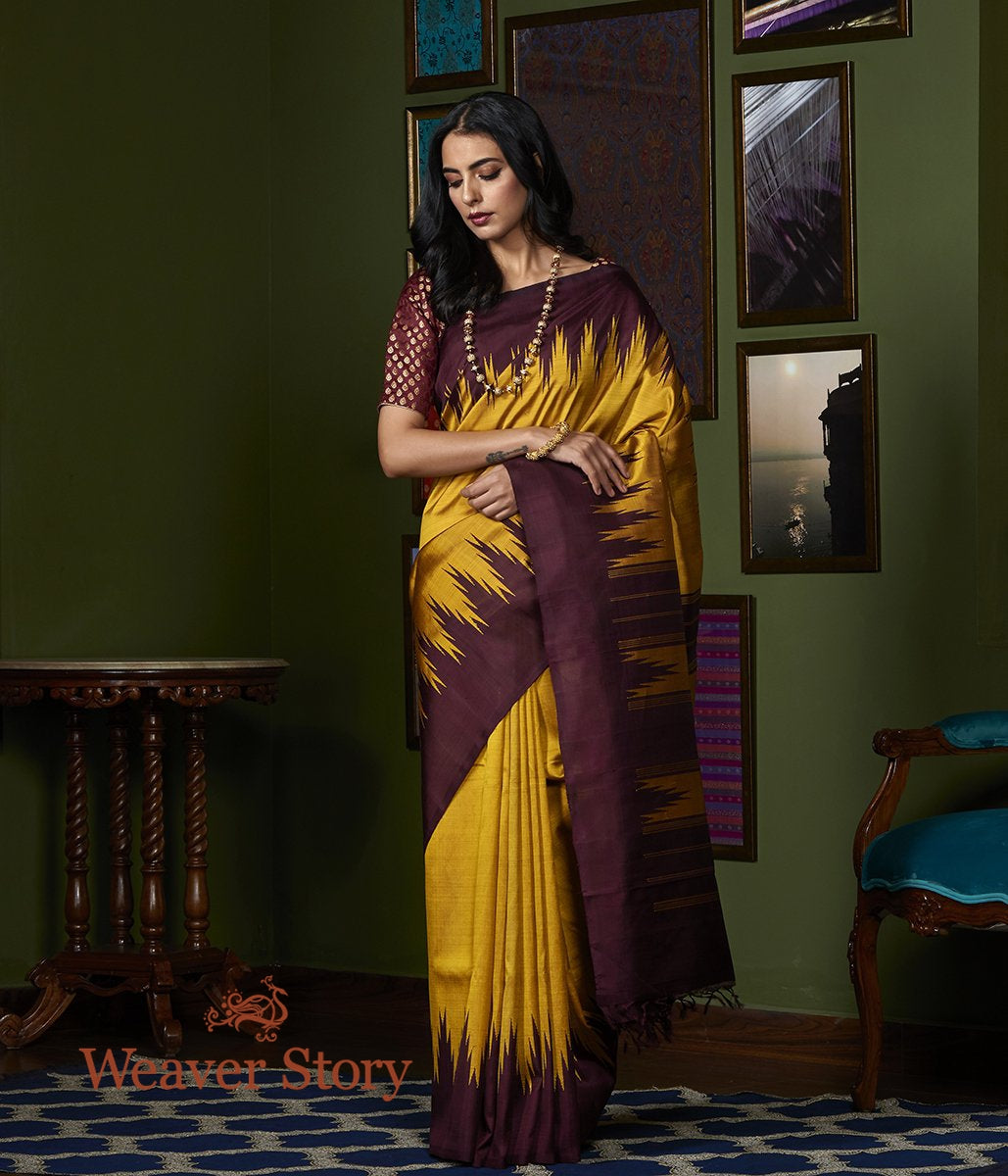 Handwoven Mustard and Wine Temple Border Kanjivaram Saree