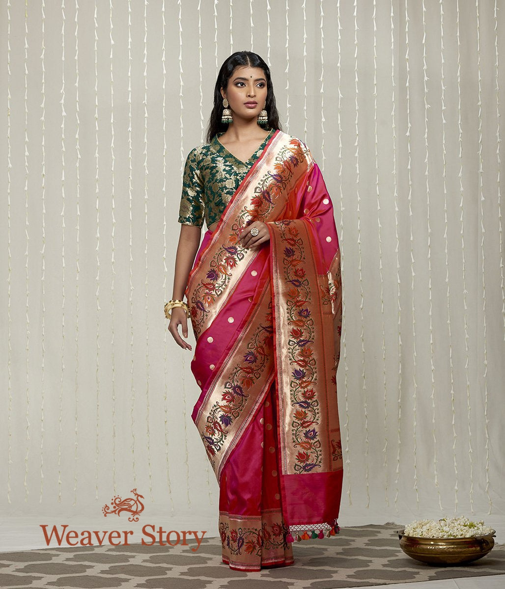 Handwoven Pink Paithani Border Saree with Lotus Flower Motifs in the Border