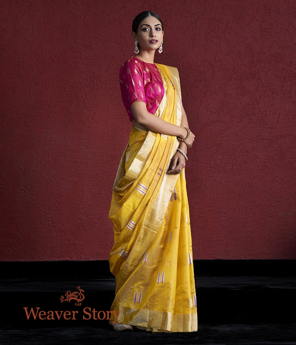 Handwoven Mustard Chanderi Tissue Saree with Twin Leaf Motifs
