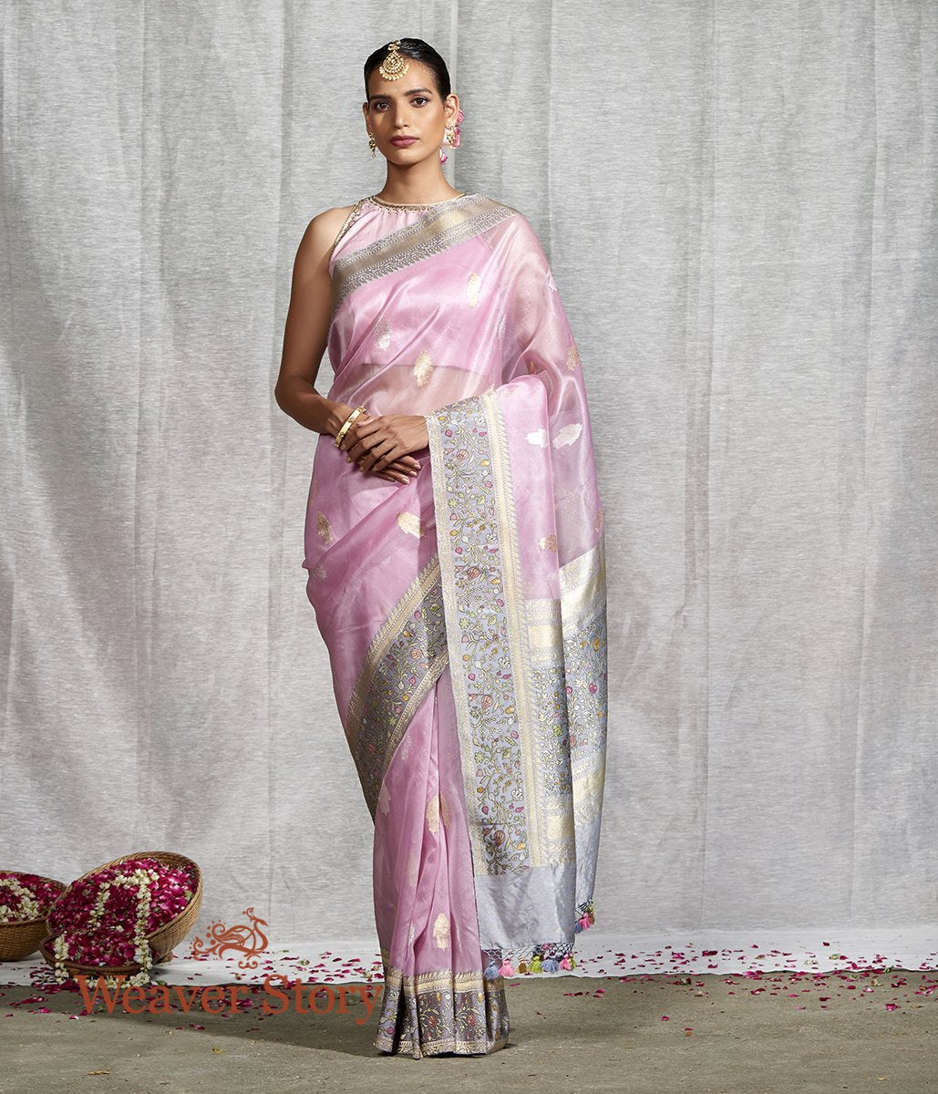 Handwoven Light Pink Kadhwa Kora Saree with Heavy Meenakari Border