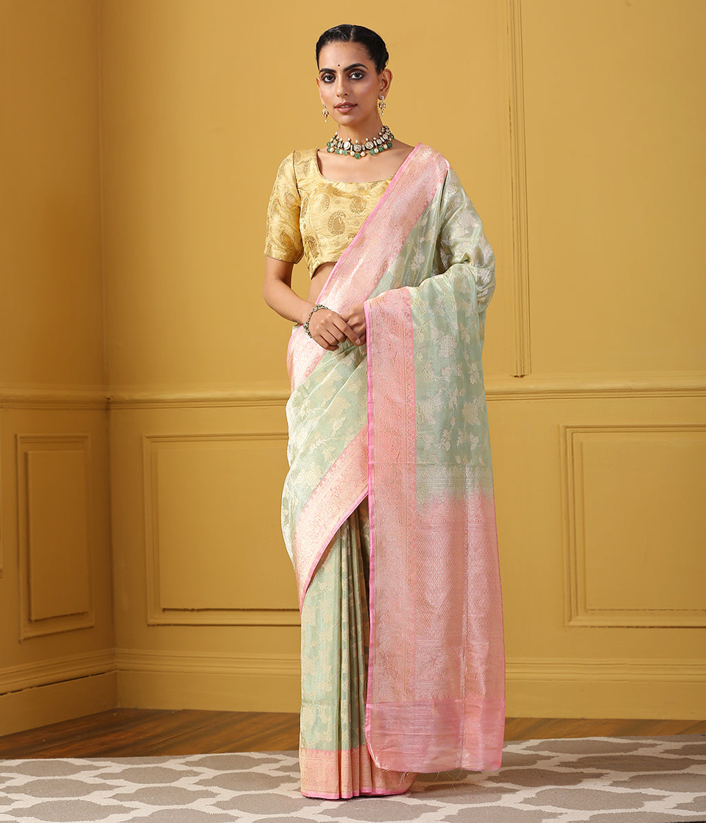 Handwoven Light Green Tissue Jangla Saree with Pink Kadhiyal Border