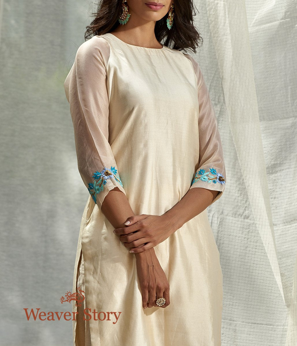 Handwoven Ivory Spun Silk Kurta with Embroidered Cuffs and Ivory Striped Pants
