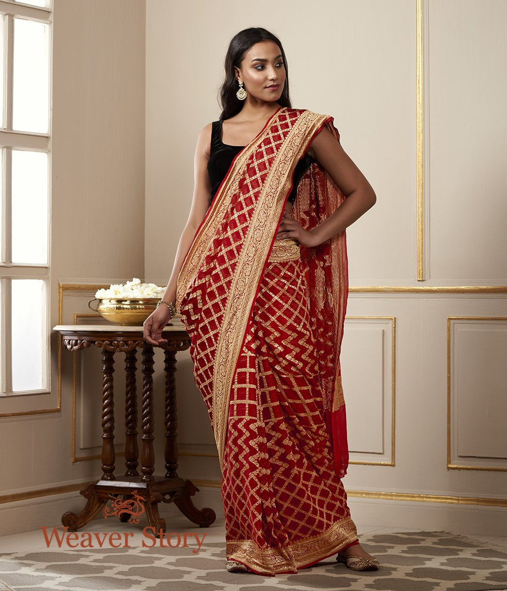 Handwoven Banarasi Georgette Saree in Red