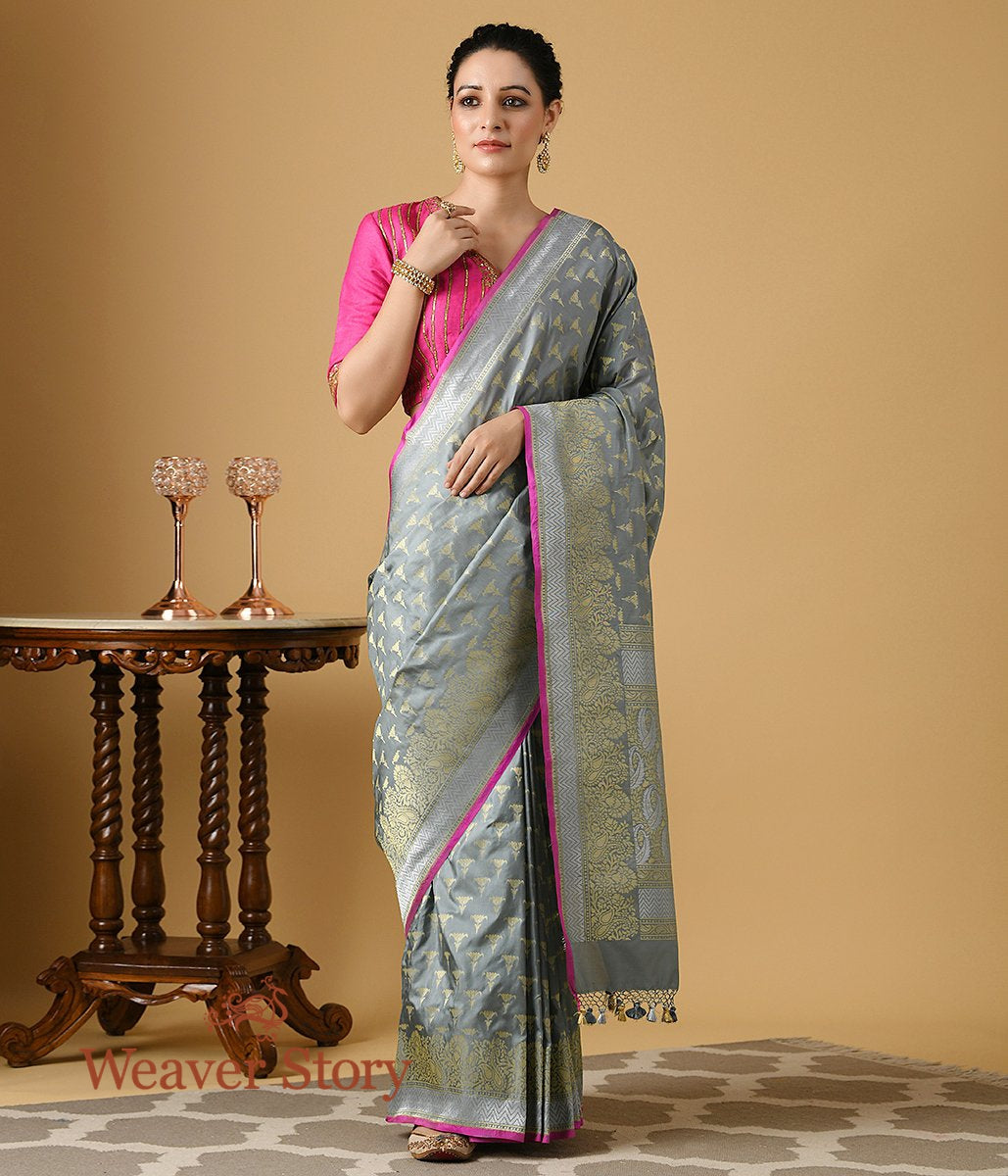 Handwoven Katan Silk Banarasi in Grey with Pink Selvedge