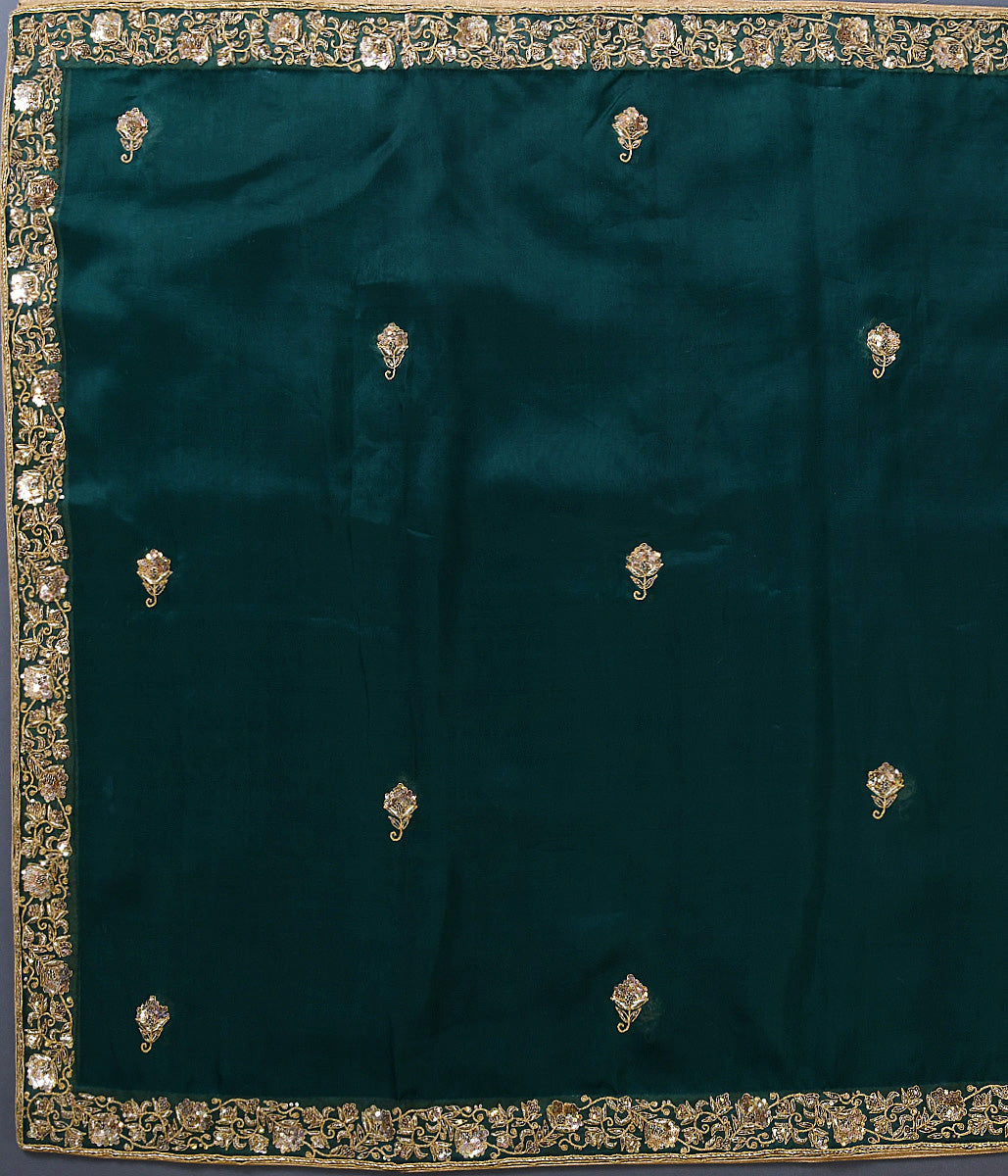 Handwoven Green Organza Dupatta with Zardozi Work