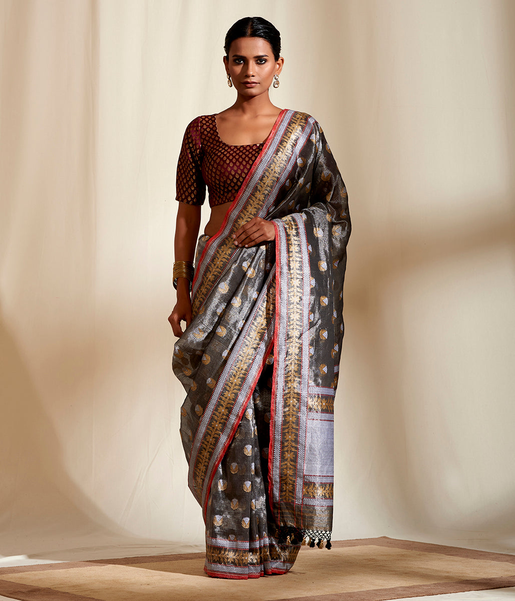 Black and Silver pure tissue saree woven on soft cotton base