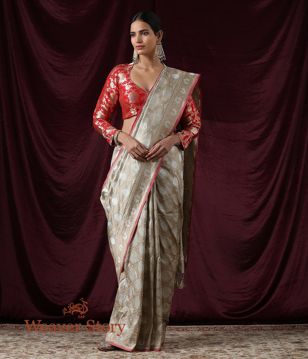 Handwoven Beige and Grey Banarasi Saree with Cutwork Weave