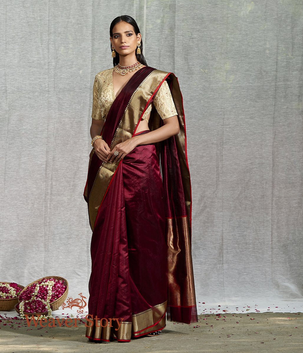 Handwoven Maroon Plain Silk Cotton Saree with Solid Zari Border
