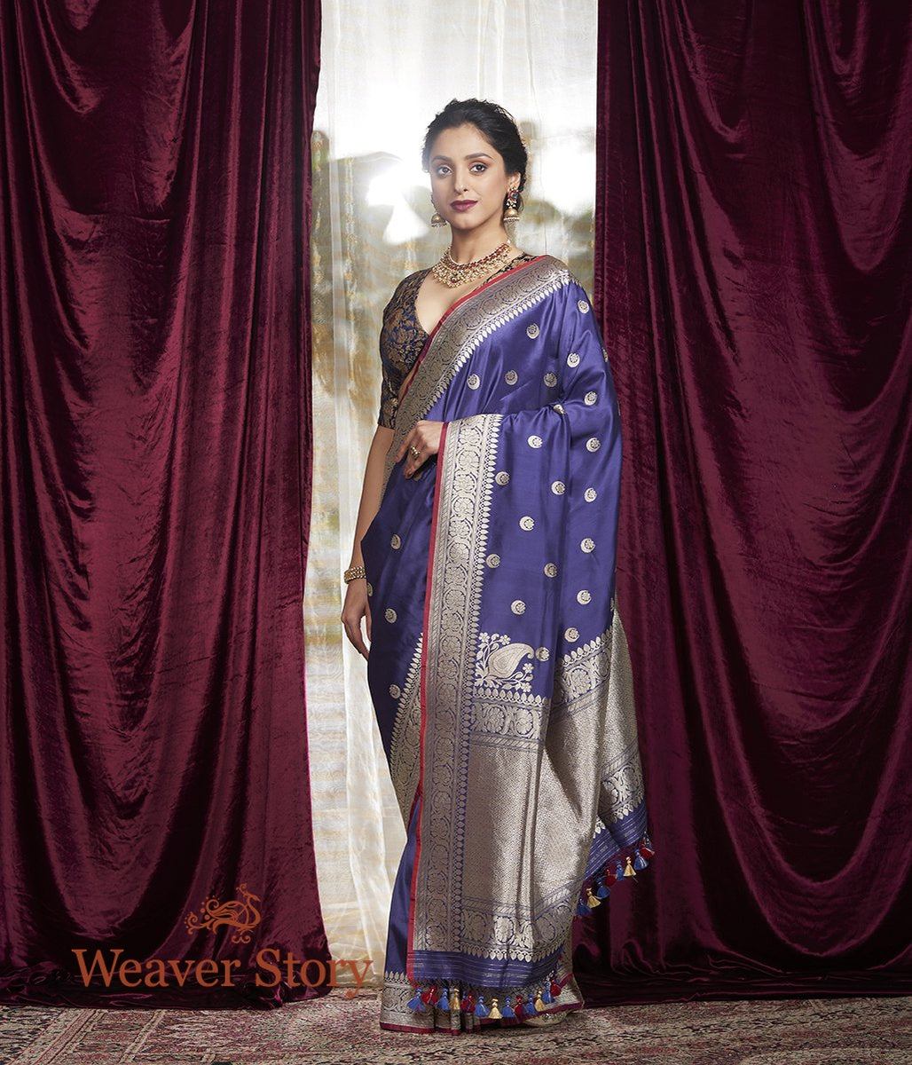 Handwoven Blue Chand Boota Saree with Konia