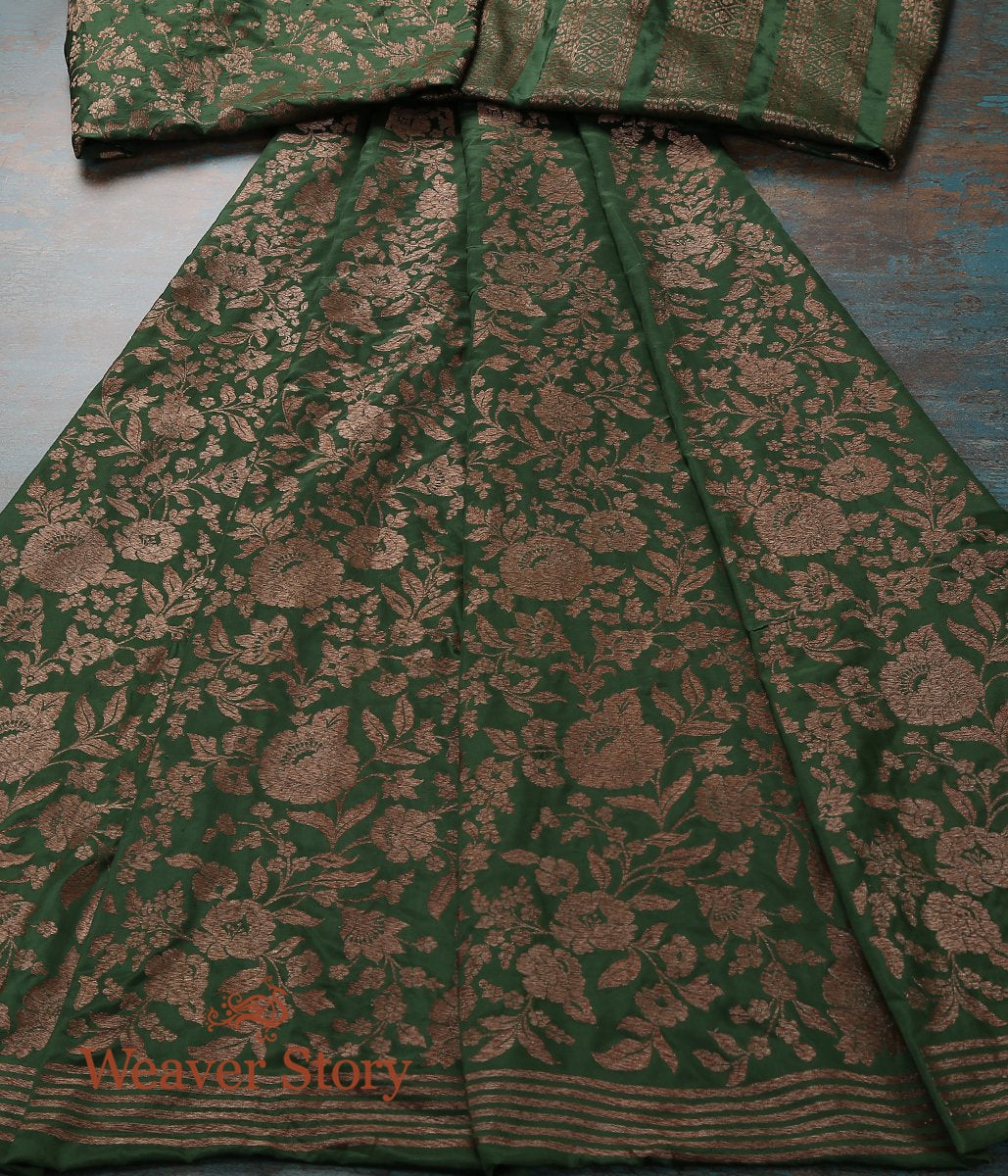 Handwoven Green Banarasi Lehenga with Antique Zari