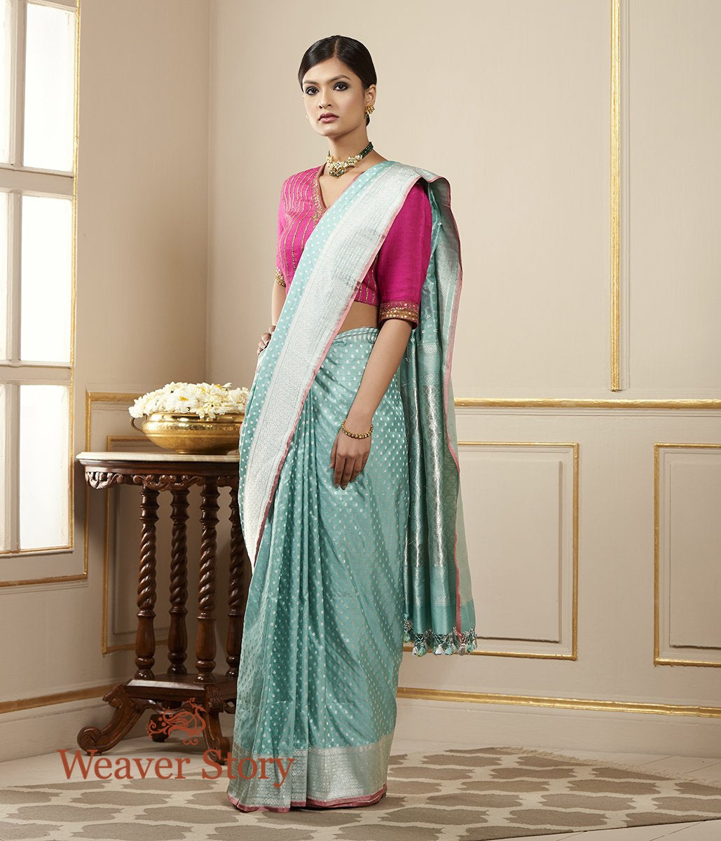 Handwoven Light Blue Banarasi Saree with Silver Zari