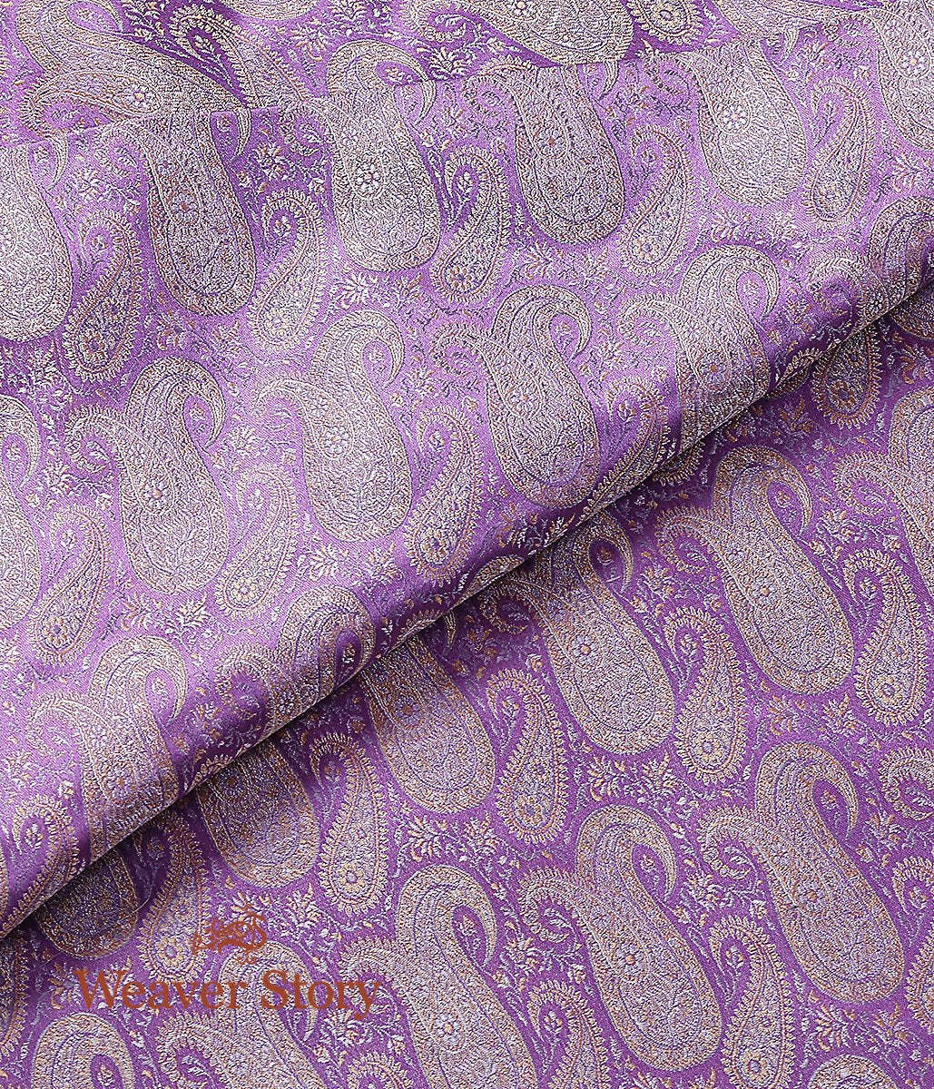 Handwoven Lavender 3 Color Jamawar Fabric