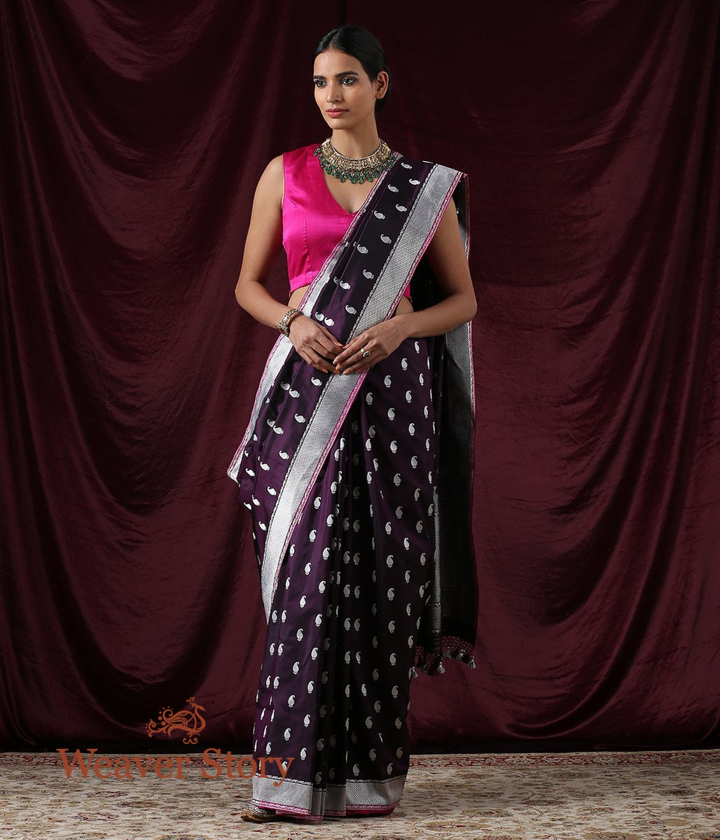 Handwoven Dark Purple Kadhwa Paisley Booti Saree with Konia