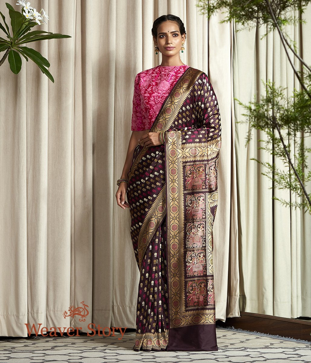 Banaras Baluchari saree in Brown with an elaborate elephant pallu