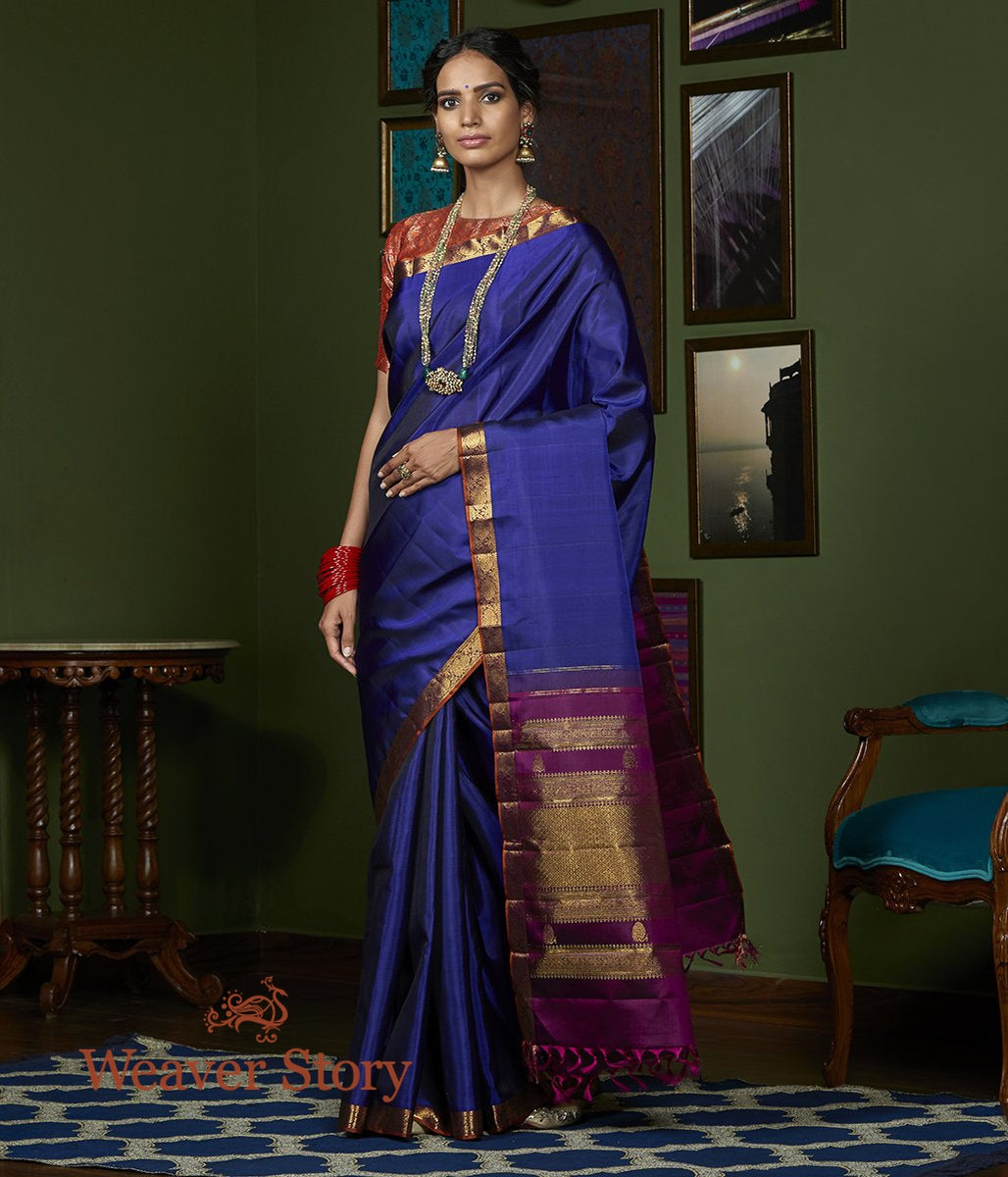 Handwoven Purple Pure Zari Kanjivaram Saree with Rust Floral Border