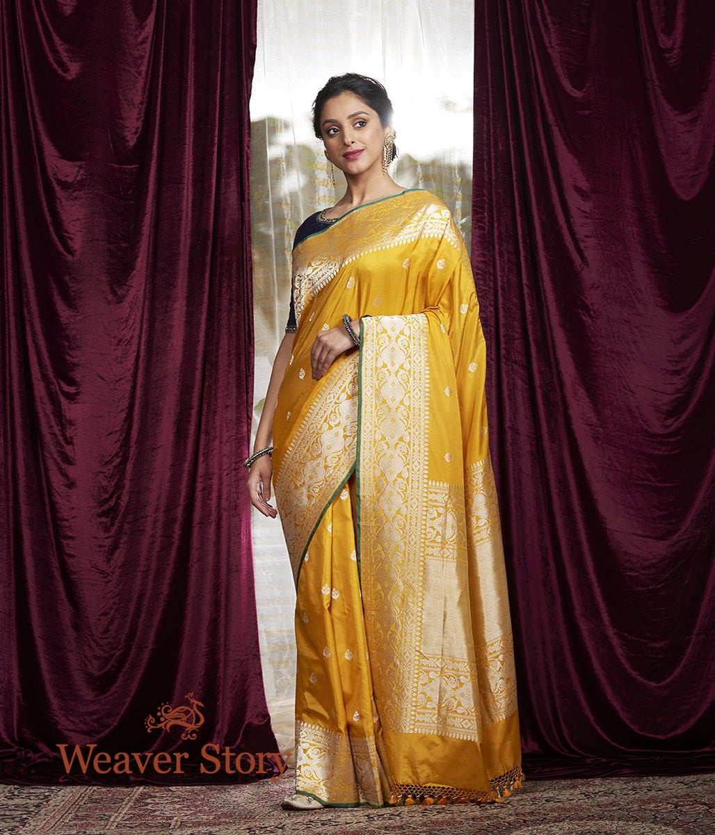 Handwoven Yellow Kadhwa Boota Saree with Silver Zari