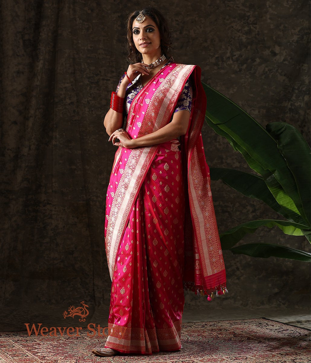 Handwoven Pink Sona Rupa Kadhwa Boota Saree with Silver Border