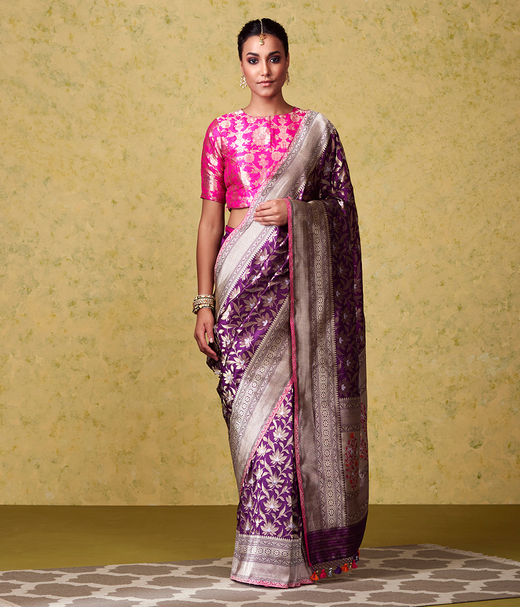 Handwoven Purple Jangla with Kadhwa Border