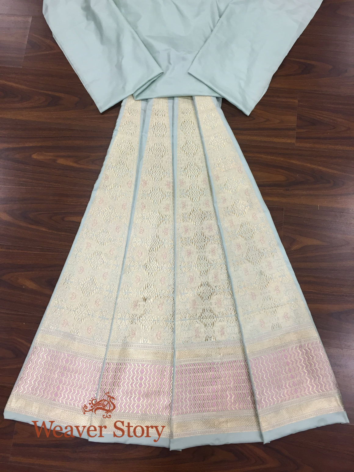 Handwoven Powder Blue Heavy Lehenga with Pink Meenakari