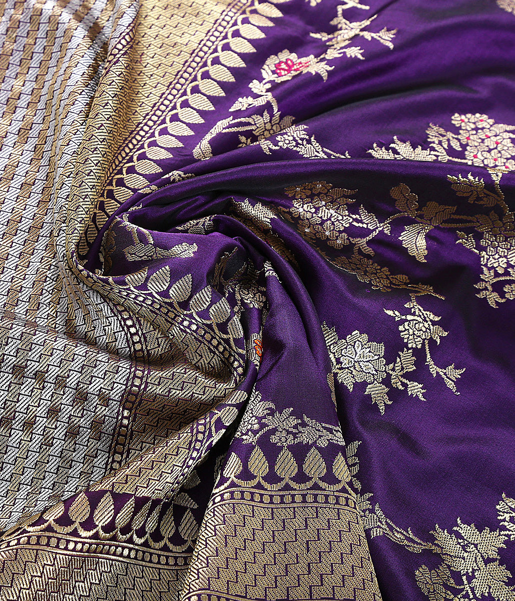 Purple Kadhwa Jangla Dupatta with meenakari