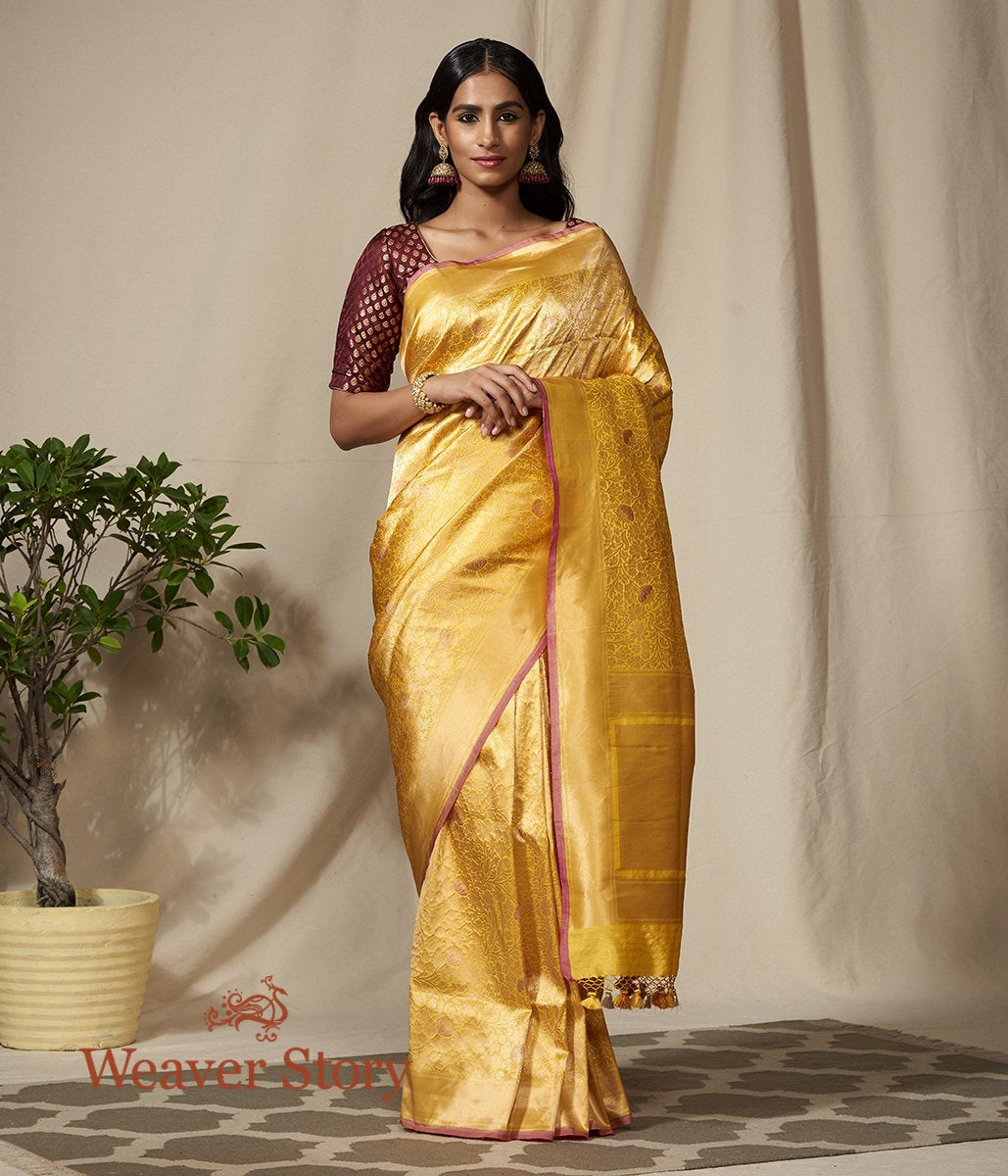 Handwoven Yellow Kimkhab Banarasi Saree with Peach Meenakari