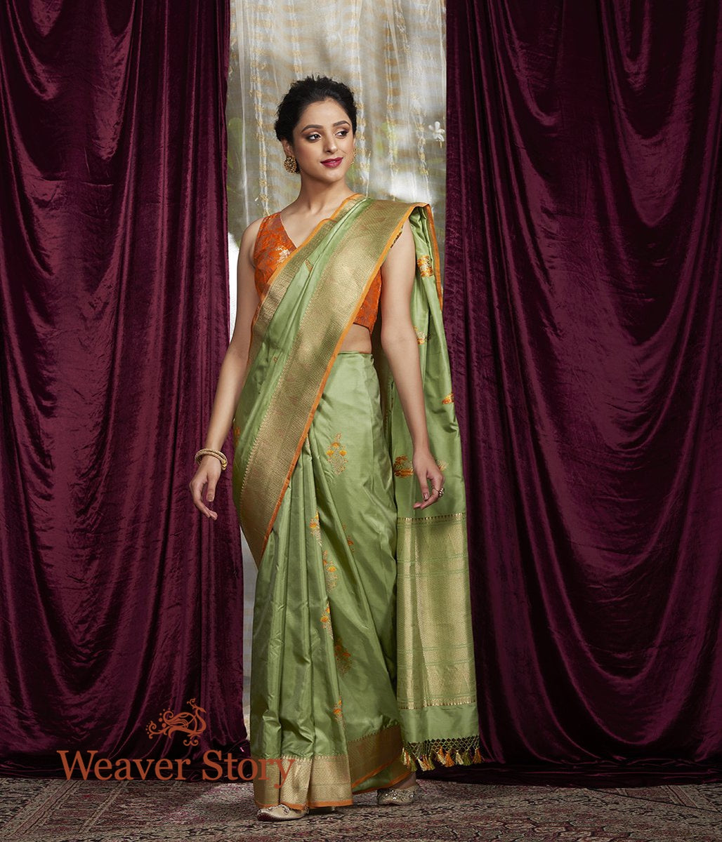 Handwoven Pista Green Katan Silk Saree with Meenakari Boota