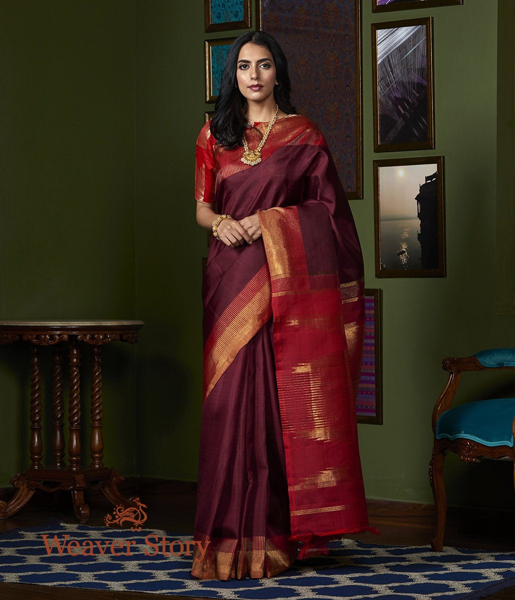 Handwoven Wine Kanjivaram Silk Saree with Red Border