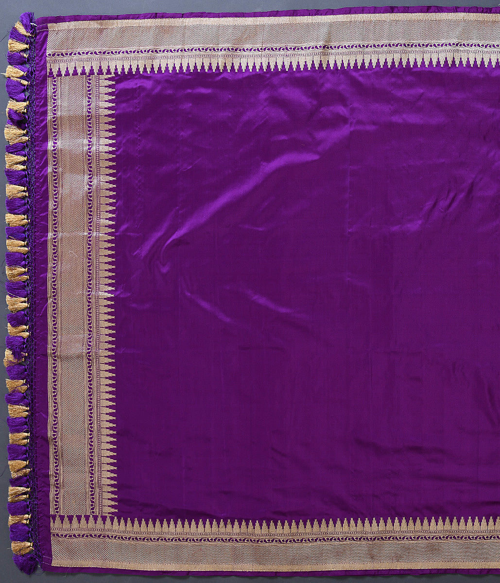 Handwoven Banarasi Purple Plain Silk Dupatta with Temple Border