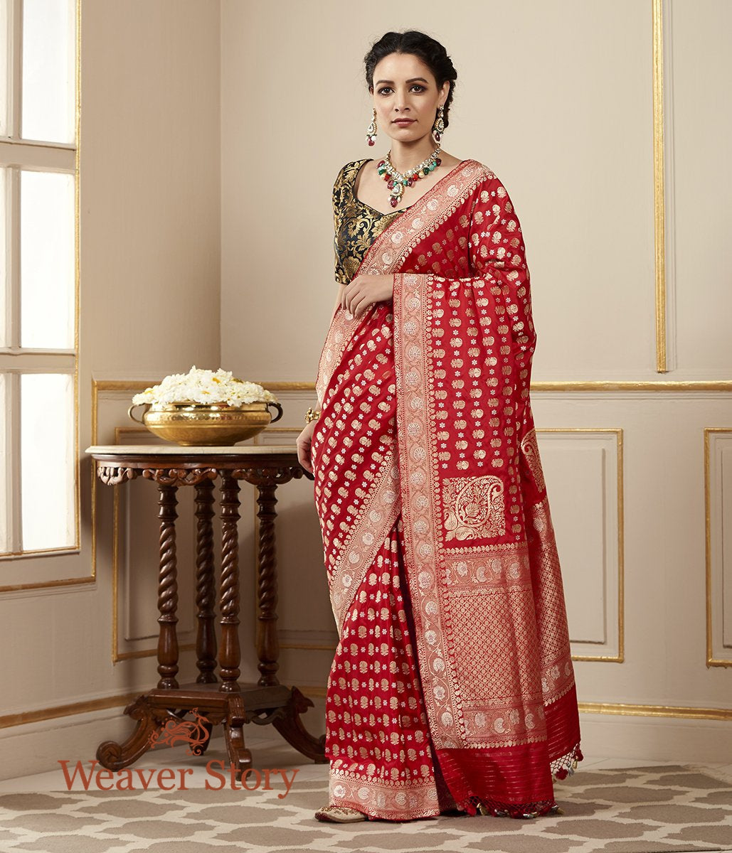 Handwoven Red Kadhwa Jangla Saree with Floral Paisleys