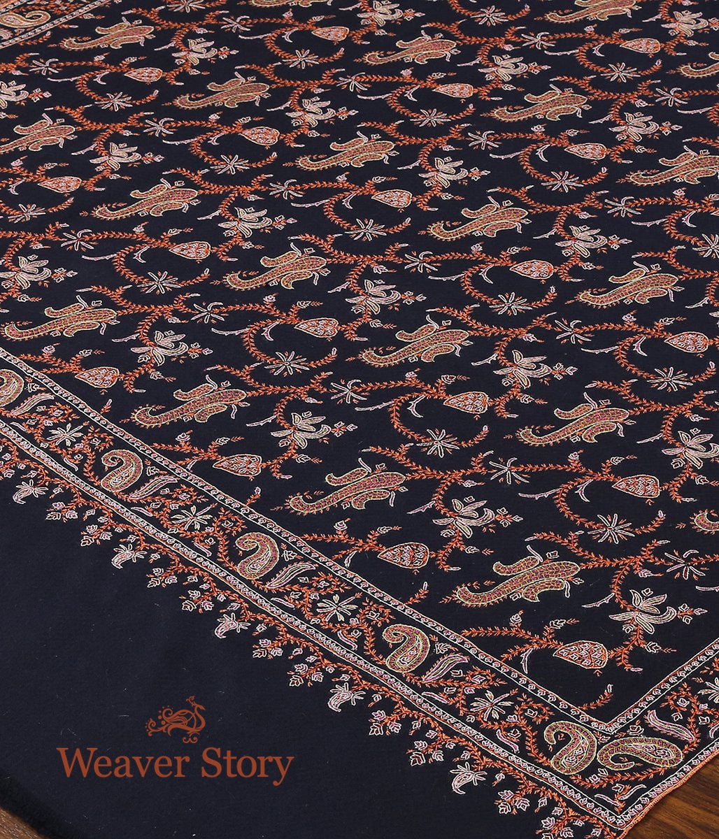 Navy Blue Pure Pashmina Shawl with Sozni Intricate Work