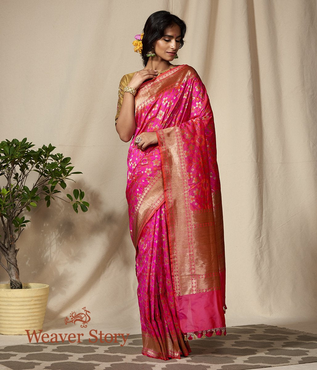 Handwoven Pink and Orange Dual Tone Antique Zari Banarasi Patola Saree