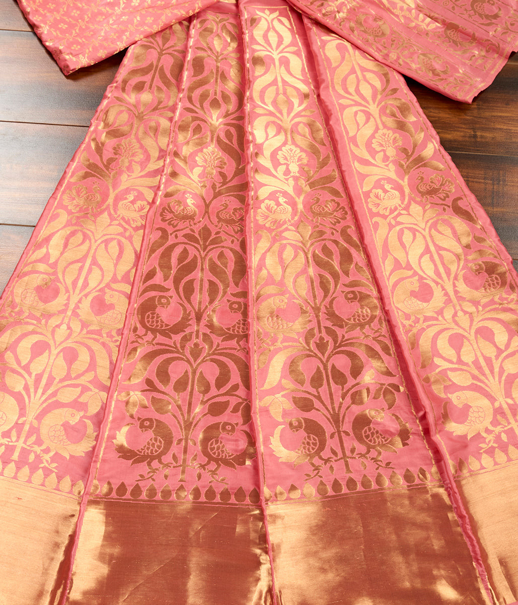 Handwoven Peach Pink Lehenga Panel