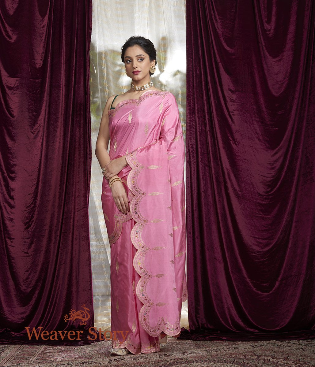 Handwoven Pink Meenakari Saree with Scalloped Borders