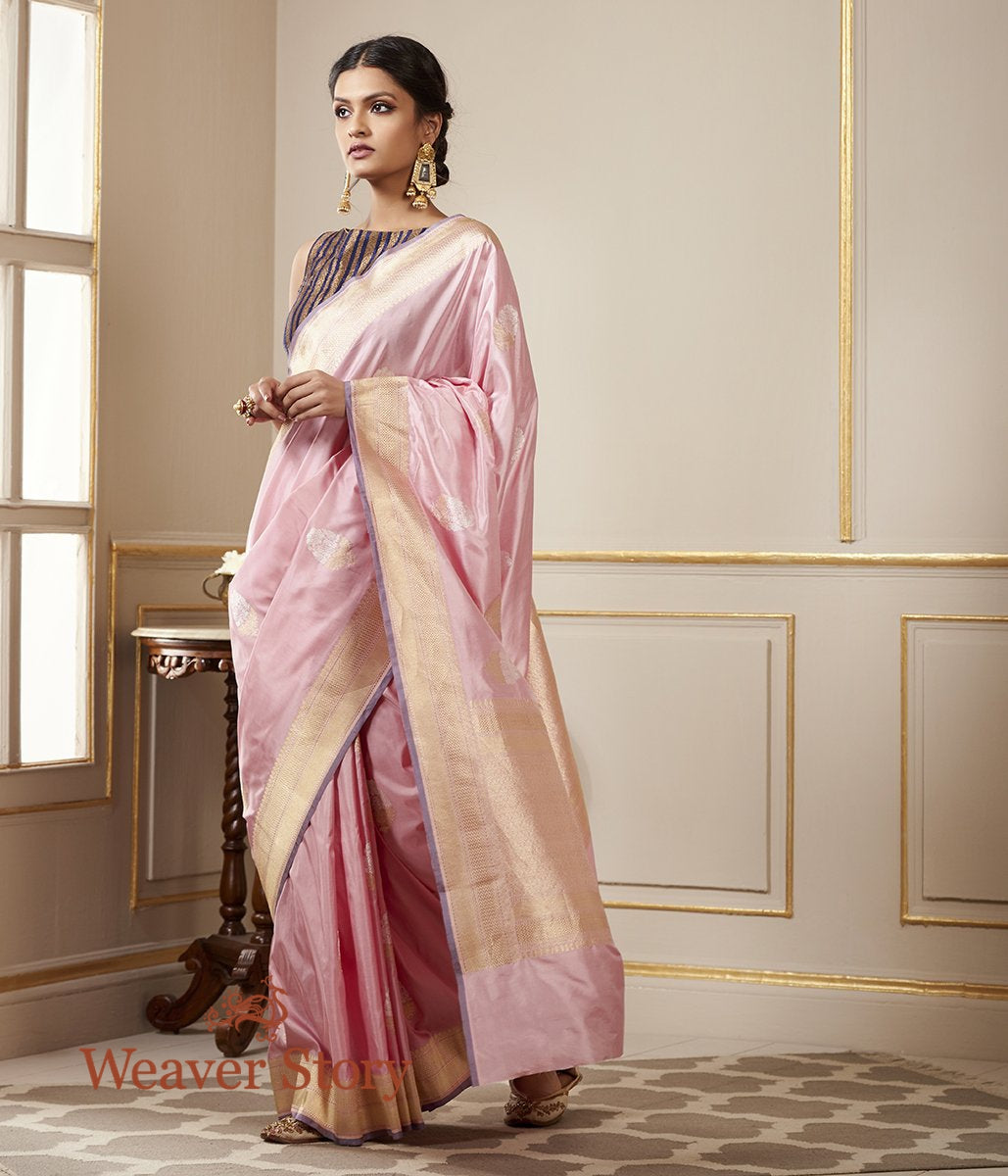Handwoven Soft Pink Katan Silk Banarasi Saree with Kadhwa Booti and a Mauve Selvedge