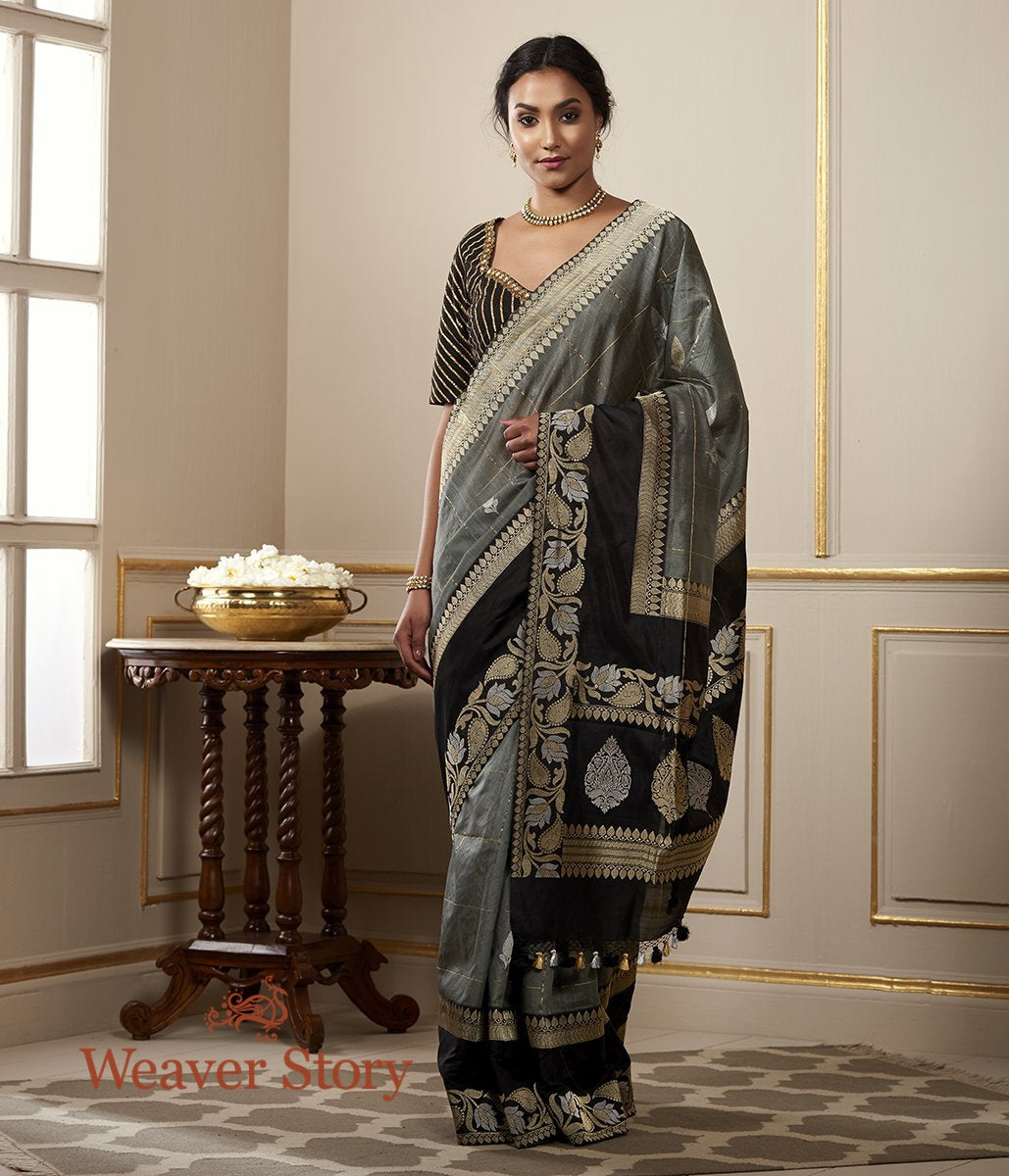 Handwoven Grey Tusser Silk Saree with Checks and Contrast Border