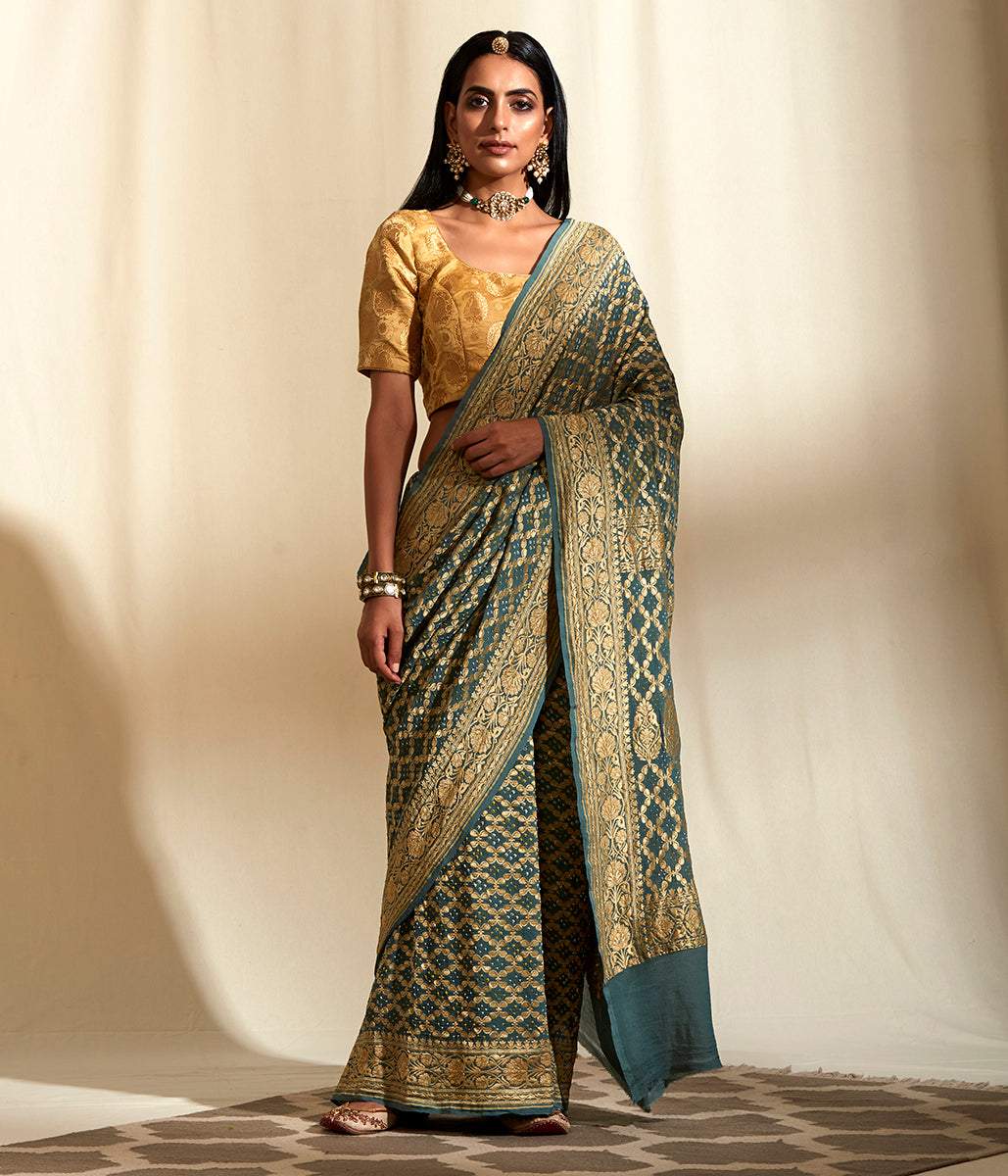 Handwoven Banarasi Bandhej Saree in Grey