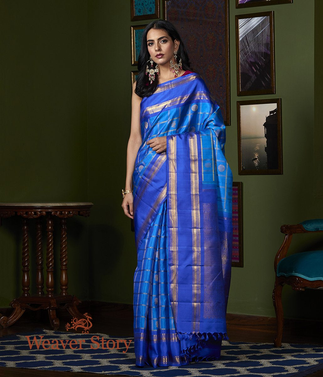 Handwoven Cobalt Blue Real Zari Kanjivaram Saree with Checks