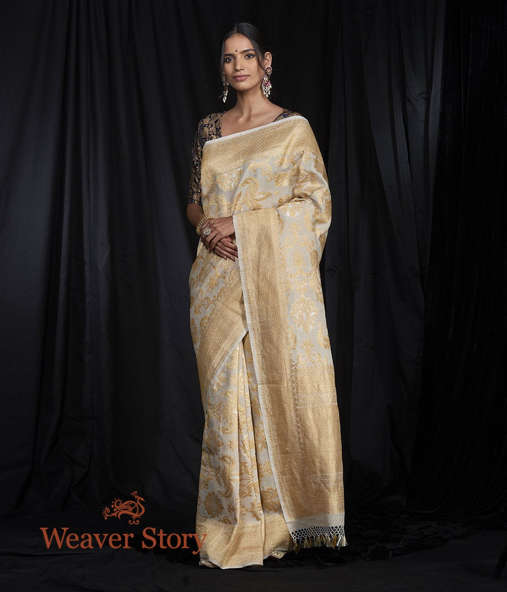 Handwoven Banarasi Jangla Saree in Tusser With Sona Rupa Zari
