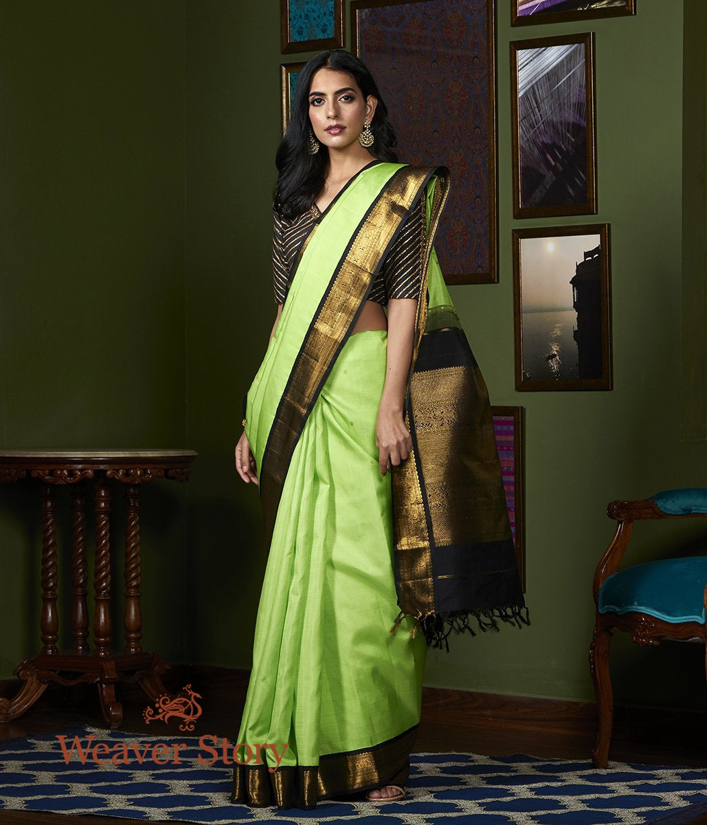 Handwoven Parrot Green Kanjivaram Silk Saree with Black Border
