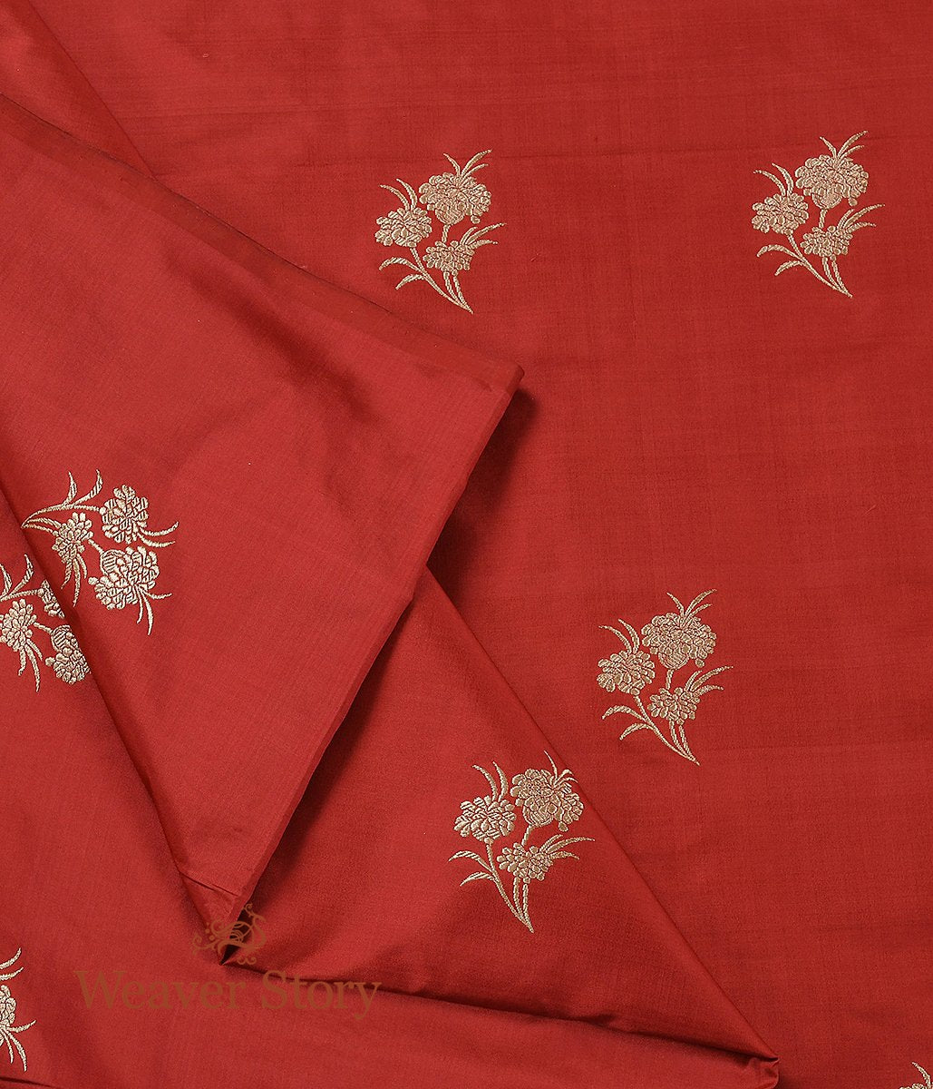 Handwoven Brick Red Kadhwa Boota Fabric
