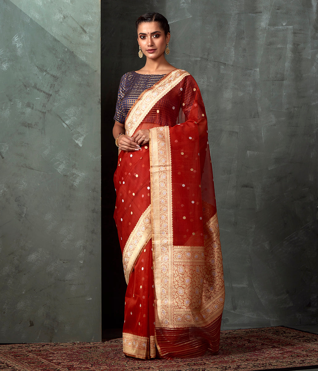 Handwoven Rust Organza Saree with Gold And Silver Zari