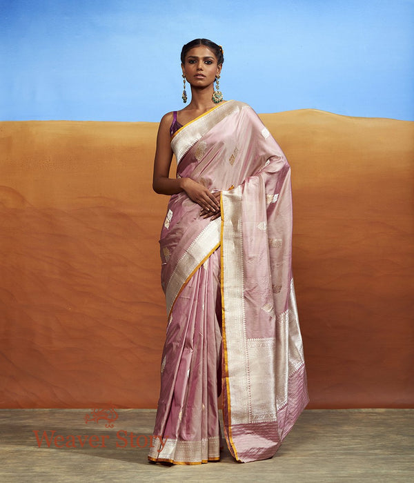 Handwoven Rose Pink Twin Motif Saree with Silver Border