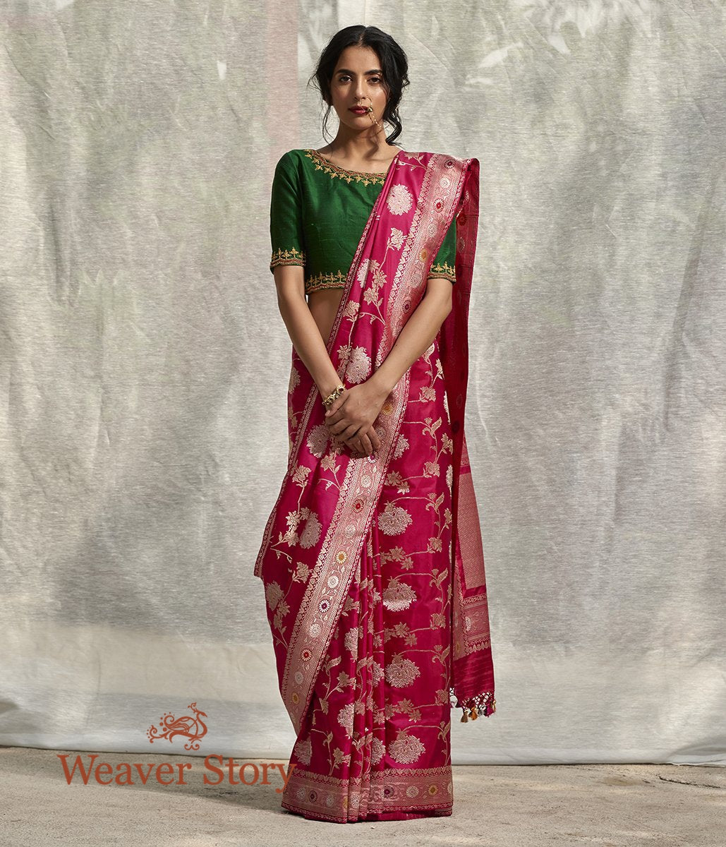 Handwoven Pink Sona Rupa Kadhwa Jangla Saree with Tissue Weft Border and Meenakari